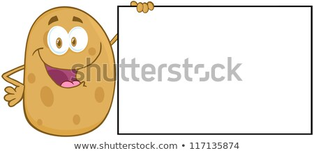 potato cartoon character holding a blank sign stock photo © hittoon