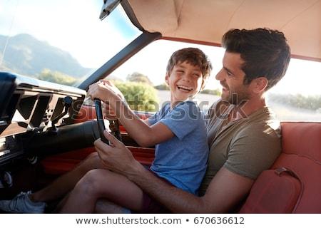 幸せ · 父から息子 · 運転 · 車 · 肖像 - ストックフォト © Anna_Om