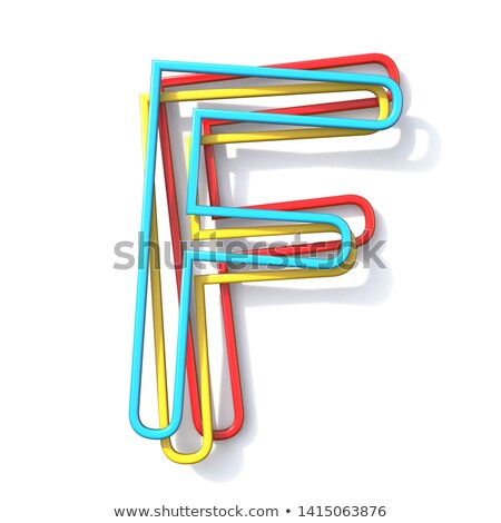 three basic color wire font letter f 3d stock photo © djmilic