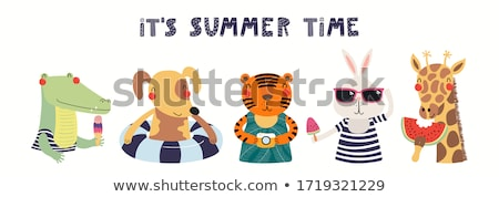 summer fun poster swimming and eating vector stock photo © robuart