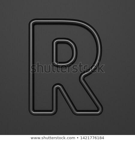 Fekete skicc betűtípus r betű 3D 3d illusztráció Stock fotó © djmilic