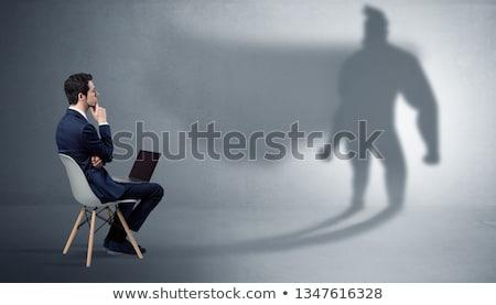 Zdjęcia stock: Biznesmen · oferowanie · superhero · cień · skromny · człowiek