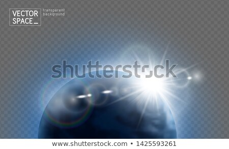 Vector planet Earth with sunrise lens flare in space isolated on transparent background. Blue globe  Stock photo © Iaroslava