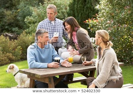 пива · саду · друзей · таблице · дерево - Сток-фото © monkey_business