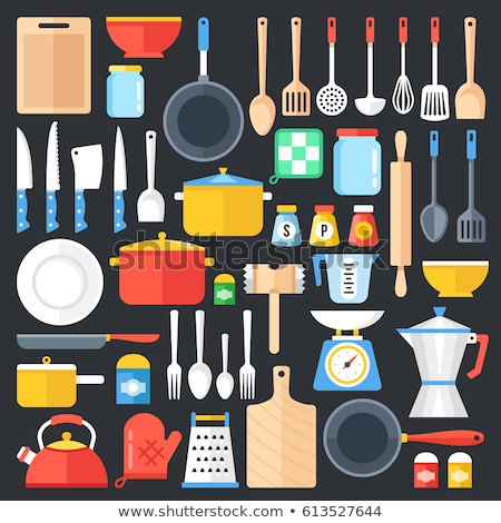 Kitchen flat icon. Saucepan Stock photo © netkov1