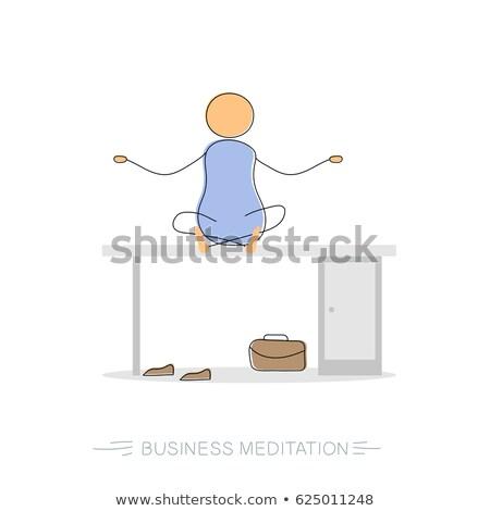 Işadamı karalama oturma yoga pozisyon çalışmak Stok fotoğraf © ra2studio
