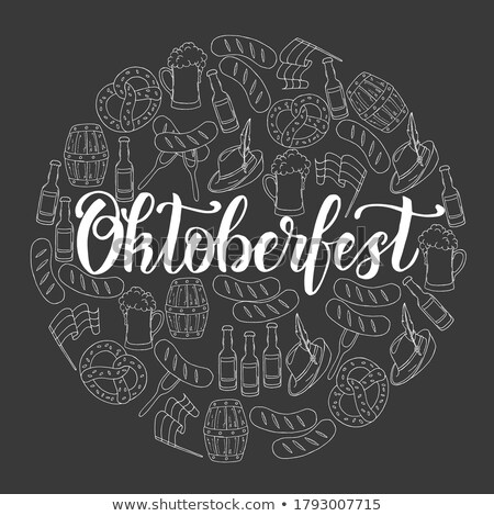 Oktoberfest Posters Set Beer Goblets Bottle Vector Stock photo © robuart