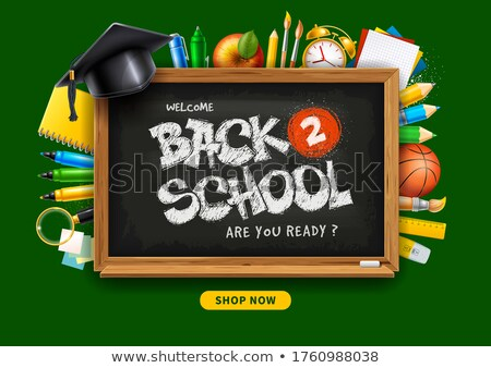 back to school sale horizontal banner pencils and supplies on black chalkboard background vector i stock photo © ikopylov