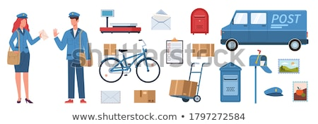 Postman Characters with Bags and on Bike Set. Stock photo © robuart