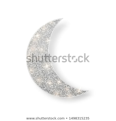 Silver shiny glitter glowing half moon with shadow isolated on white background. Crescent Islamic fo Stock photo © olehsvetiukha