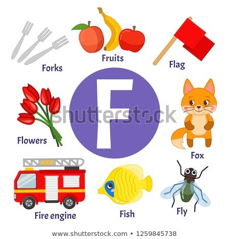 letter F worksheet with cartoon fly Stock photo © izakowski
