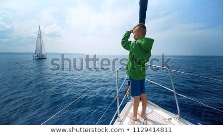 Jongen Blauw boot strand meisje Stockfoto © galitskaya