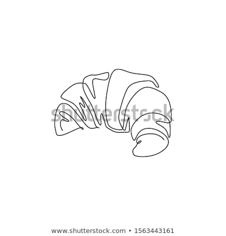 Croissant continuous line art hand drawing. Badge bakery logo. Outline style drawn sketch vector ill Stock photo © ESSL