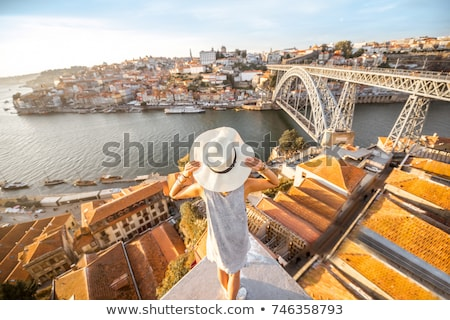 Stockfoto: Woman Enjoying Sunset At Porto - Portugal