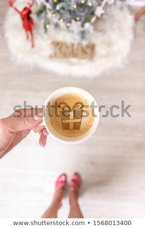 Hot coffee or spiced chai latte at Christmas time Stock photo © lovleah