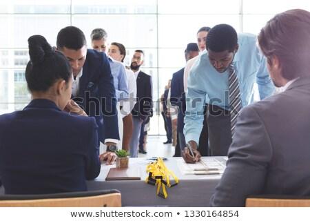Fronte view uomini d'affari conferenza registrazione Foto d'archivio © wavebreak_media