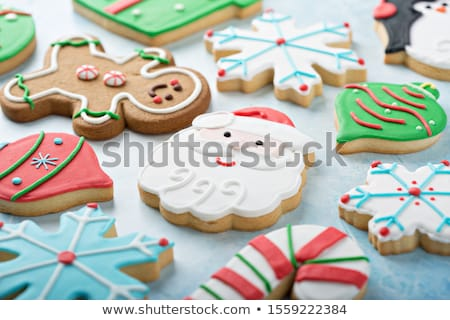 Decorated and iced Christmas cookies Stock photo © lovleah