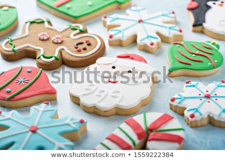 Díszített jeges karácsony sütik karácsonyfa kekszek Stock fotó © lovleah