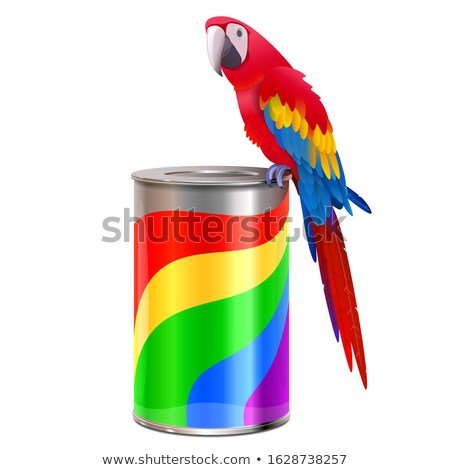 Vector Parrot with Paint Can Stock photo © dashadima