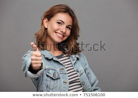 Sorridente brim jaqueta amigos adolescente Foto stock © dolgachov