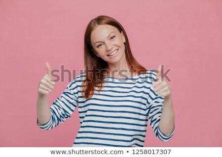 Szczęśliwy młodych dość europejski pani dać Zdjęcia stock © vkstudio