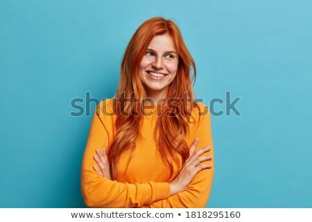 Portret aantrekkelijk gember europese vrouw glimlacht Stockfoto © vkstudio
