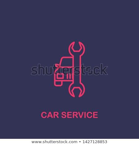 Pracownika naprawa samochodów ikona wektora ilustracja Zdjęcia stock © pikepicture