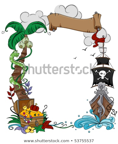 Vector Pirate Scroll with Palm Tree Stock photo © dashadima