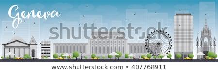 Geneva skyline with grey landmarks and blue sky. Stock photo © ShustrikS