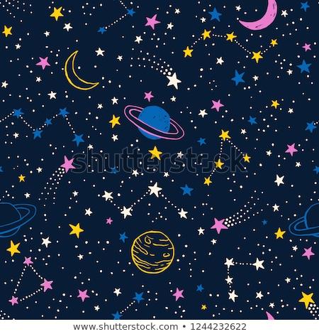 Kolorowy galaktyki przestrzeni planet bezszwowy ilustracja Zdjęcia stock © bluering