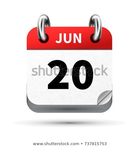 Bright realistic icon of calendar with 20 june date isolated on white Stock photo © evgeny89