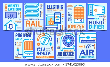 Heating And Cooling Equipment Posters Set Vector Stock photo © pikepicture