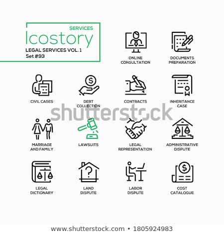 Legal services - line design style icons set Stock photo © Decorwithme