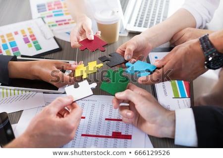 チームワーク パズル 問題 ビジネス 手 光 ストックフォト © Ansonstock
