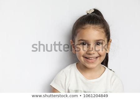 peu · blond · fille · souriant · portrait · jaune - photo stock © oleksandro