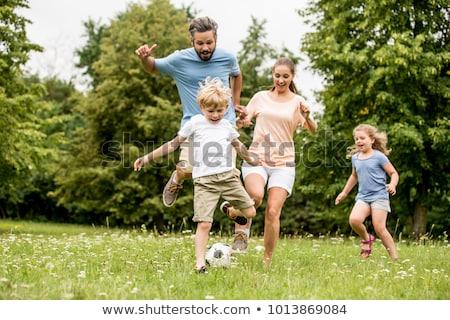 apa · pléd · fiú · park · mozgássérült · család - stock fotó © photography33