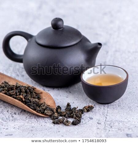 Groene thee ingesteld theepot theekopje focus Stockfoto © Pietus