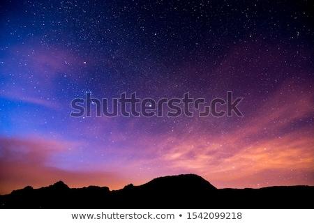 noite · cidade · lago · paisagem · neve · árvores - foto stock © zittto