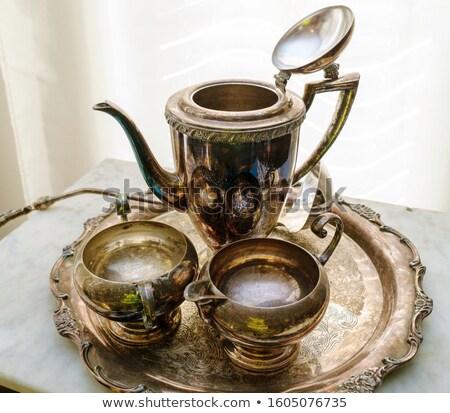 классический стиль серебро чайник набор текстуры Сток-фото © haiderazim