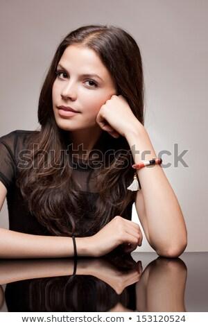 pensive · jeunes · brunette · portrait - photo stock © lithian