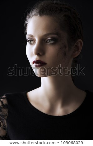 portrait of fashion brunette turned of three quarters stock photo © carlodapino