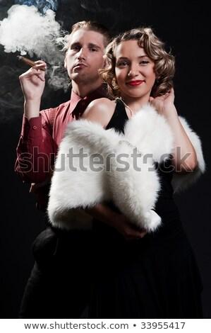 Portre iki güzel puro moda Stok fotoğraf © acidgrey