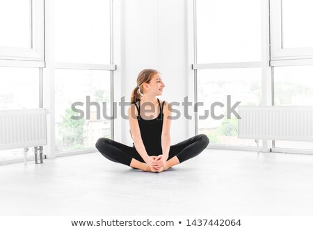 portre · güzel · balerin · oturma · zemin · oda - stok fotoğraf © wavebreak_media