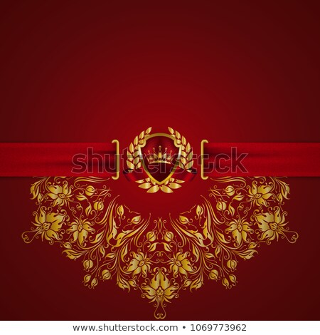 exclusive red card with vintage floral pattern stock photo © liliwhite