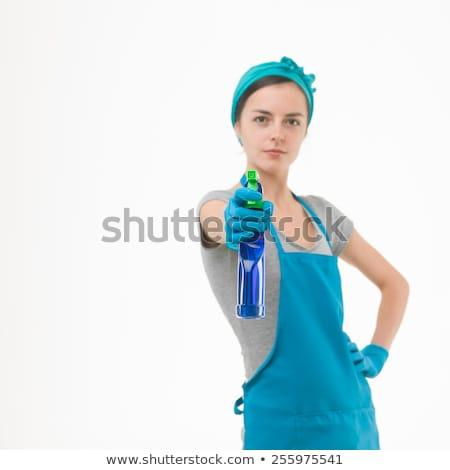 Soubrette pointant femme visage paysage signe Photo stock © photography33