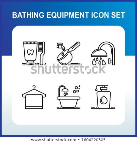 Bath Sponge and Shower Head Silhoettes Stock photo © eldadcarin