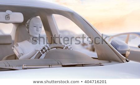 Robot sürücü 3d render sürücü kompakt araba Stok fotoğraf © raptorcaptor