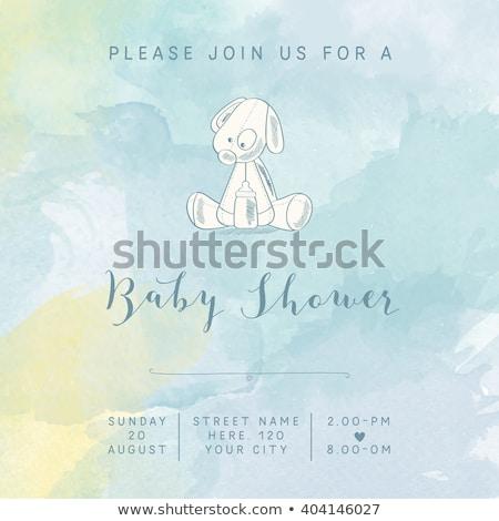 romantic baby boy shower card Stock photo © balasoiu