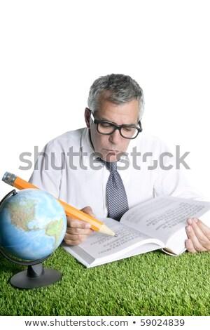 senior · estudante · professor · humor · óculos · mapa - foto stock © lunamarina