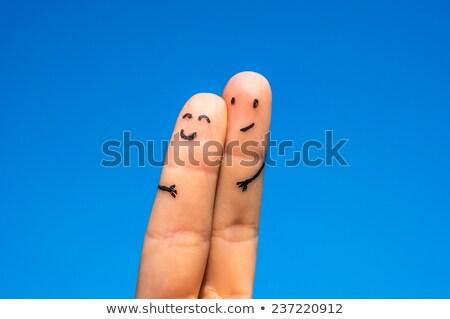 kettő · szerető · ujjak · mosolyog · szív · viszony - stock fotó © nelosa